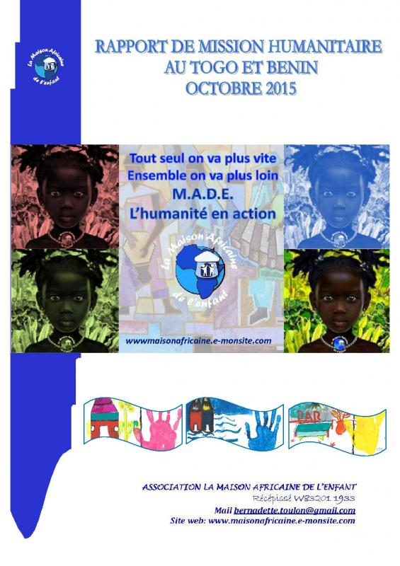 Premiere page du rapport de mission made octobre 2015